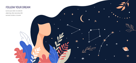 Feminine concept illustration, beautiful woman, hair night sky full of stars. Character decorated with flowers and leaves. Illustration