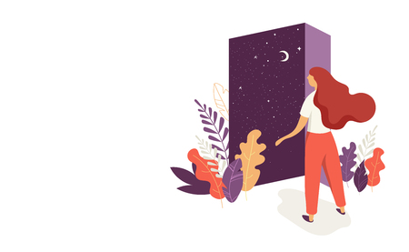 Feminine concept illustration, beautiful woman opens the door with a night sky view. Character decorated with flowers and leaves.
