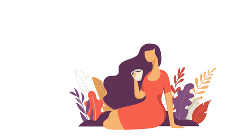Feminine concept illustration, beautiful woman with a cup. Character decorated with flowers and leaves.  イラスト・ベクター素材