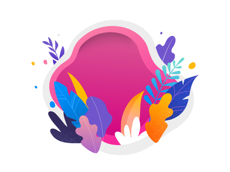 Colorful leaves on white and magenta background. Vector illustration, modern flat style Vectores