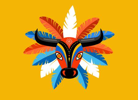 Carnaval de Barranquilla, kolumbijska impreza karnawałowa. Ilustracja wektorowa, plakat i ulotka