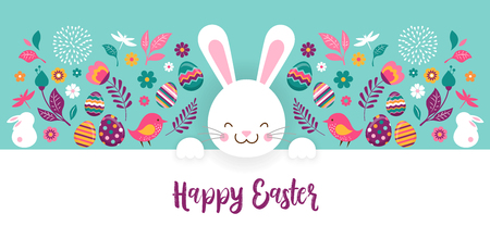 Happy Easter, vector banner template with flowers, eggs and bunnies Illustration