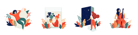Illustrazione del concetto femminile, belle donne in diverse situazioni. giornata internazionale della donna. Set di design vettoriali stile piano stock immagini vettoriali