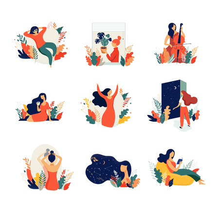 Feminine concept illustration, beautiful women in different situations. international womens day. Flat style vector design set stock vectors