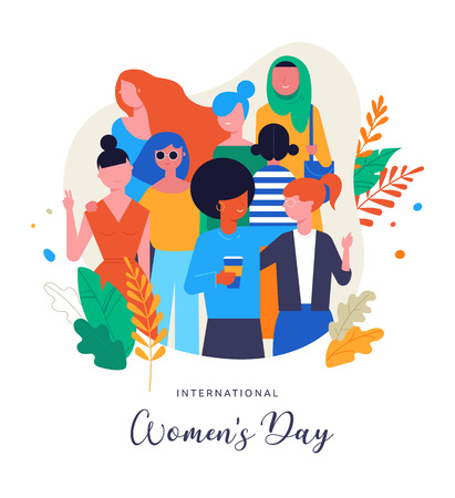 International Women's Day. Vector illustration, card, poster, flyer and banner template Vettoriali