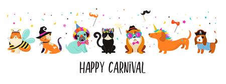 Animales divertidos, mascotas. Lindos perros y gatos con coloridos disfraces de carnaval, plantilla de ilustración vectorial