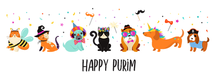 Funny animals, pets. Cute dogs and cats with a colorful carnival costumes, vector illustration, Happy Purim banner Illustration