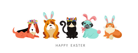 Happy Easter card, dogs and cats wearing bunny costumes, holding basket with eggs Illustration