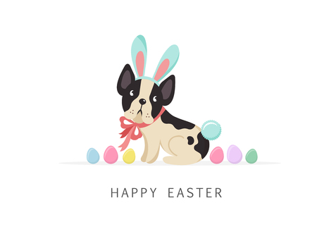 Happy Easter card, dog wearing bunny costume Stock Illustratie