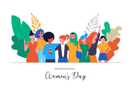 Giornata internazionale della donna. Modello di illustrazione vettoriale, carta, poster, flyer e banner