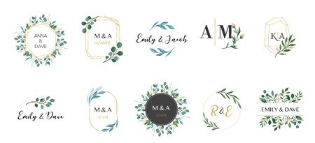 Wedding  hand drawn elegant, delicate monogram collection
