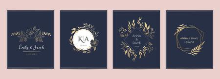 Collezione di monogrammi eleganti e delicati disegnati a mano da matrimonio Vettoriali