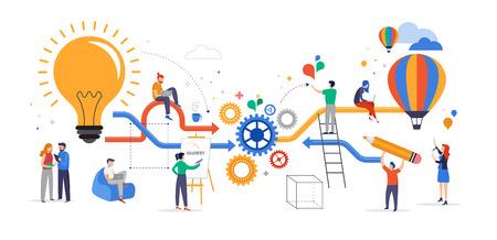 Groupe de jeunes gens d'affaires collaborant, résolvant des problèmes, réfléchissant à des concepts d'idée créative, de remue-méninges et de travail d'équipe. Illustration vectorielle de style plat