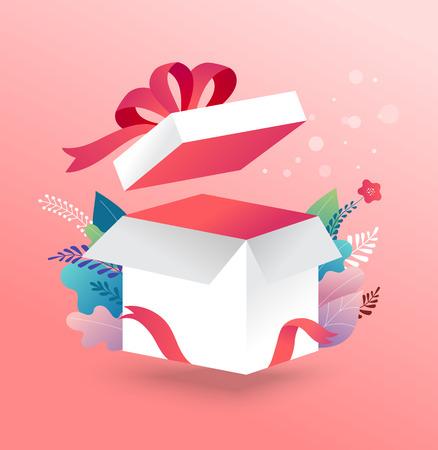 Scatola fortunata, scatola regalo bianca aperta con nastro rosso. Modello di progettazione del concetto di vendita, promozione regalata. Illustrazione vettoriale