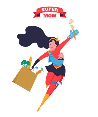 Super-mamma. Madre volante del supereroe che porta un bambino Illustrazione vettoriale Vettoriali