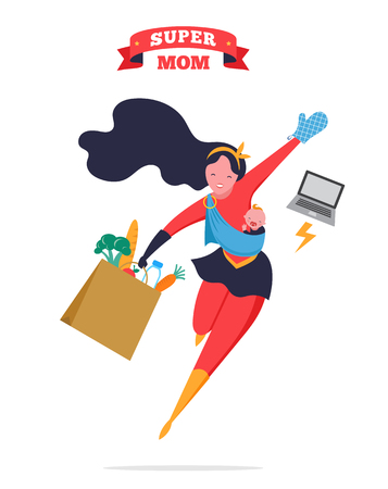 Super Mom. Flying superhero mother carrying a baby. Vector illustration Illustration