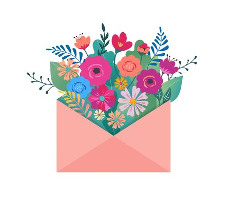 Hello spring, letter envelope with flower bouquet Çizim