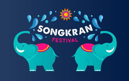 Songkran - water festival in Thailand. Thai new year national holiday. Colorful vector banner and background