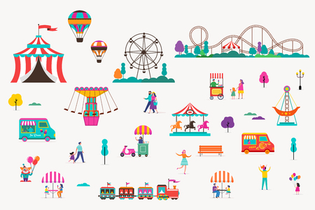 Amusement park with carousels, air balloons and roller coaster. Circus, Fun fair and Carnival icon collection Vector Illustratie