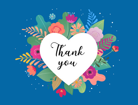 Thank you card template. Big white heart with colorful flowers in background