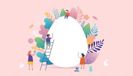 Happy Easter vector illustration, miniature people, families and giant egg. Greeting cards, poster, banner