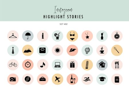 Highlights Stories Covers Icons collection. Fully editable, scalable vector file