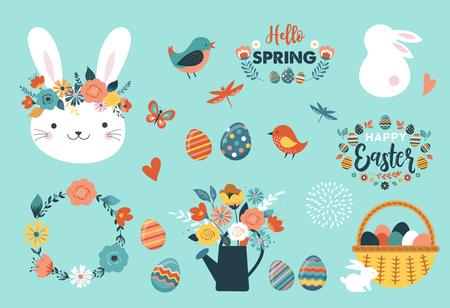 Frohe Ostern-Vektorillustration, Grußkarte, Plakatschablone