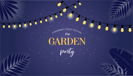Night garden party banner, invitation card. Vector design template