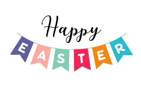 Happy Easter vector illustration, banner and poster template