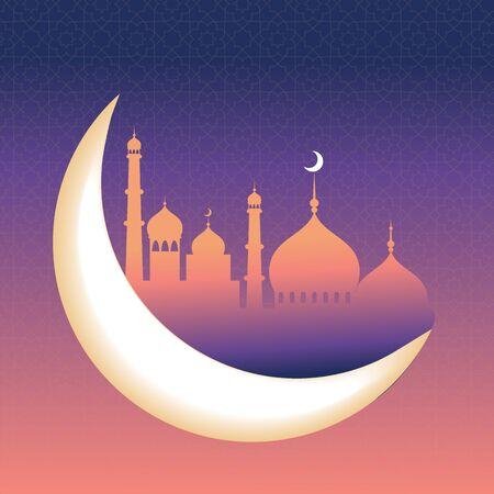 Ramadan kareem greeting card and banner. Islamic lantern on moon abd stars background. Vector illustration
