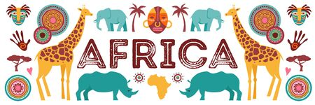Africa banner, vector illustration of Safari, animals, tribal symbols