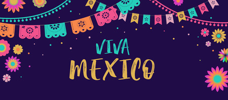 Viva Mexico - Mexican Fiesta banner template and poster design with flags, flowers, decorations Illustration