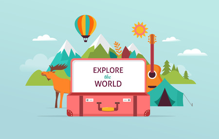 Travel and tourism concept design with open suitcase. Vector illustration template