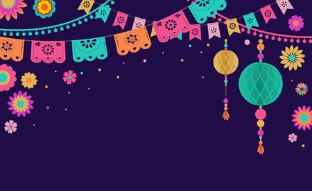 Mexican Fiesta banner template and poster design with flags, flowers, decorations Illustration