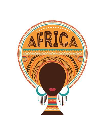 Africa day, Vector illustration with African woman, tribe ornaments and patterns.