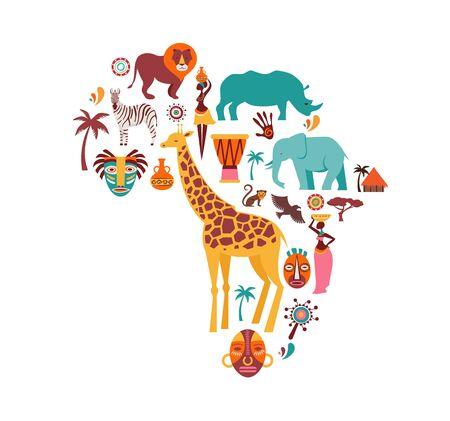 Carte de l'Afrique illustrée d'icônes d'animaux, de symboles tribaux. Conception de vecteur Vecteurs