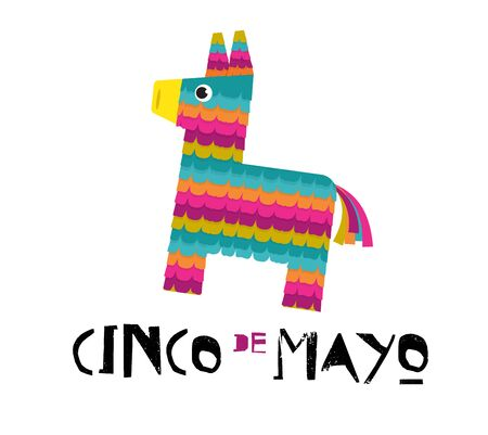Mexican Fiesta banner and poster design with donkey pinata, flowers, decorations 일러스트