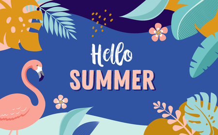 Hello Summer, vector banner design with flamingo and tropical leaves, background template