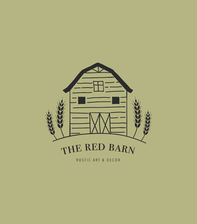 Hand drawn home, farm and barn logo, icon. 일러스트