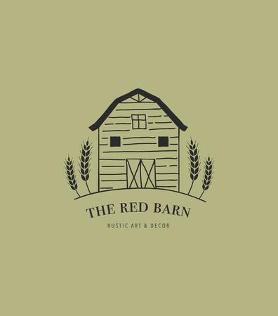 Hand drawn home, farm and barn logo, icon.  イラスト・ベクター素材