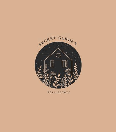 Hand drawn home, house with garden logo, icon.
