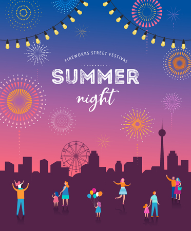 Fireworks, firecracker at night, celebration background, winner, victory poster, banner - vector illustration template Vettoriali