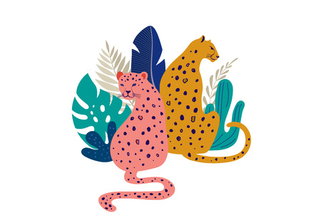 Tropical exotic animals and birds - leopards, tigers, parrots and toucans vector illustration. Wild animals in the jungle, rainforest Vectores