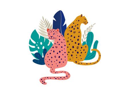 Tropische exotische Tiere und Vögel - Leoparden, Tiger, Papageien und Tukane Vektorgrafik. Wilde Tiere im Dschungel, Regenwald