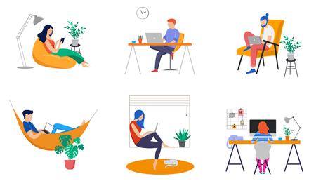 Lavorare a casa, spazio di coworking, illustrazione di concetto. Giovani, liberi professionisti uomini e donne che lavorano su laptop e computer a casa. Illustrazione di stile piatto vettoriale