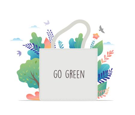 Zero Waste, environmental, go green concept design. Vector illustration template Illustration