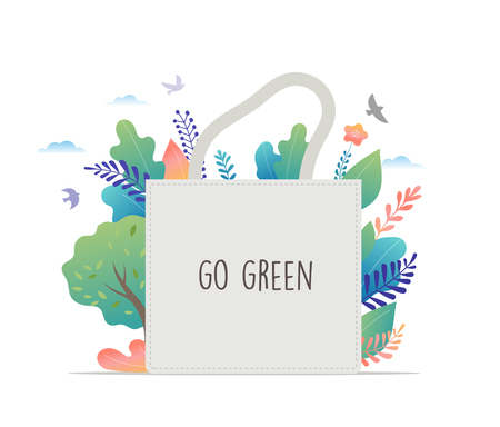 Zero Waste, environmental, go green concept design. Vector illustration template Vectores