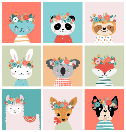 Cute animals heads with flower crown, vector illustrations for nursery design, poster, birthday greeting cards. Panda, llama, fox, coala, cat, dog, racoon and bunny