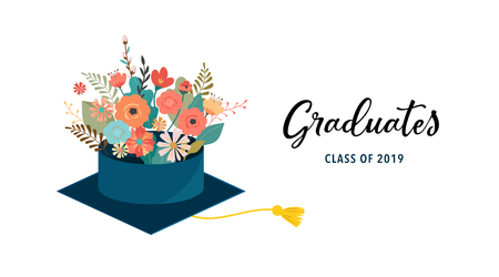 Graduate class of 2019. Caps and flowers on a white background. Vector illustration, banner design Ilustrace