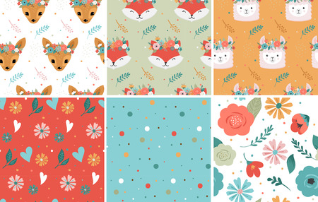 Cute animals heads with flower crown, vector seamless pattern design for nursery, poster, birthday greeting card templates. Panda, llama, fox, coala, cat, dog, racoon and bunny